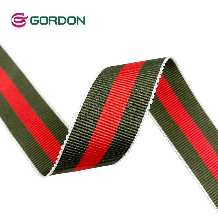 Best Seller 100% Polyester 25mm Grosgrain Ribbon With Green and Red Color Striped For Uniform Garment Accessories