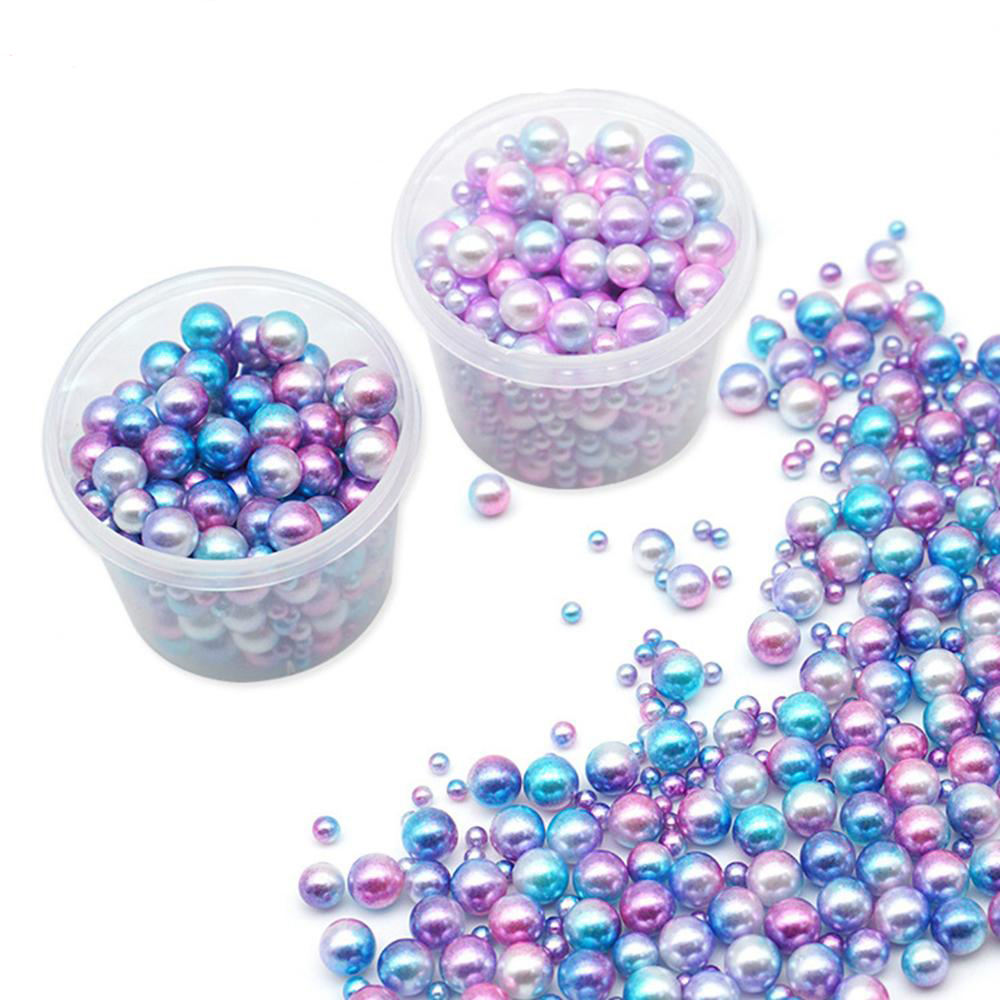 250pcs Plastic Gradient Pearls DIY Manicure Pearls Mermaid Party Necklace Jewelry Earring Pendant Decor Wedding Party Supplies