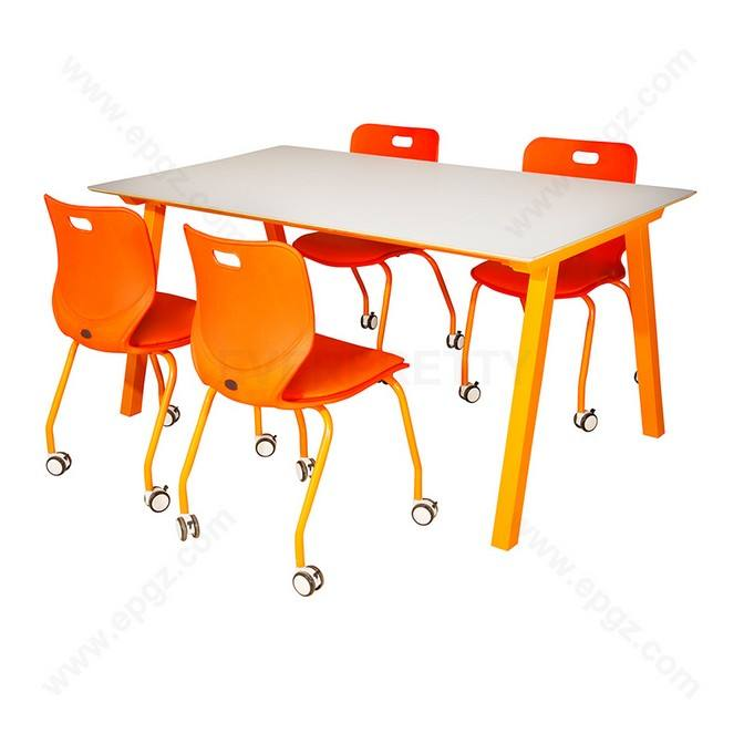 School Library Furniture 4-Seat Library Reading Table and Movable Chair Set