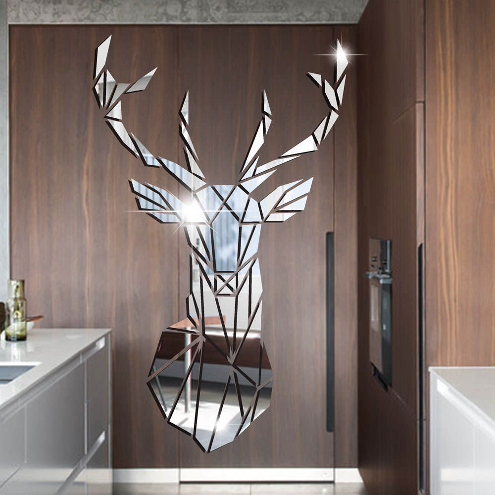 2020 Sika deer head 3D acrylic wall sticker children's room kindergarten decoration self-adhesive wall stickers home decor