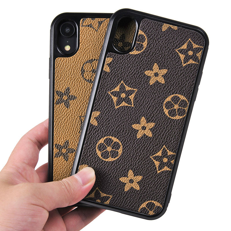 Fashion PU Leather Patterns plaid brand phone case for iphone X XS Max Pu case for iPhone 11