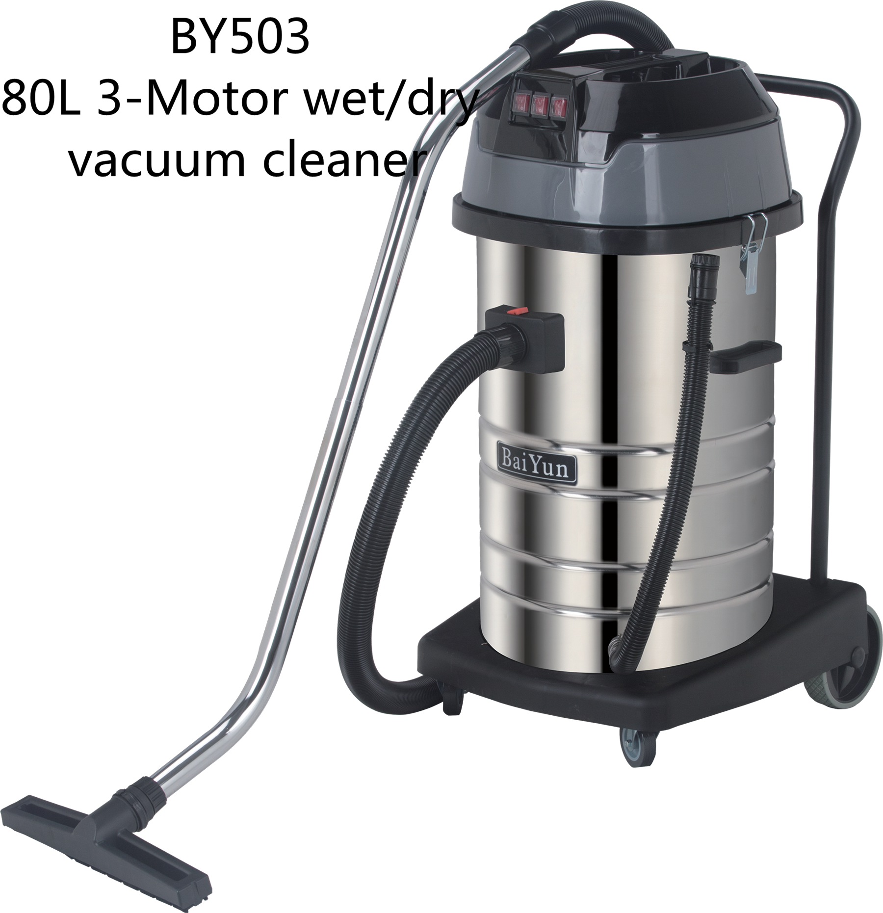 BAIYUN BY503 80L 3000w high quality portable powerful motor stainless steel tank vacuum cleaner Dry and wet Business Hotel