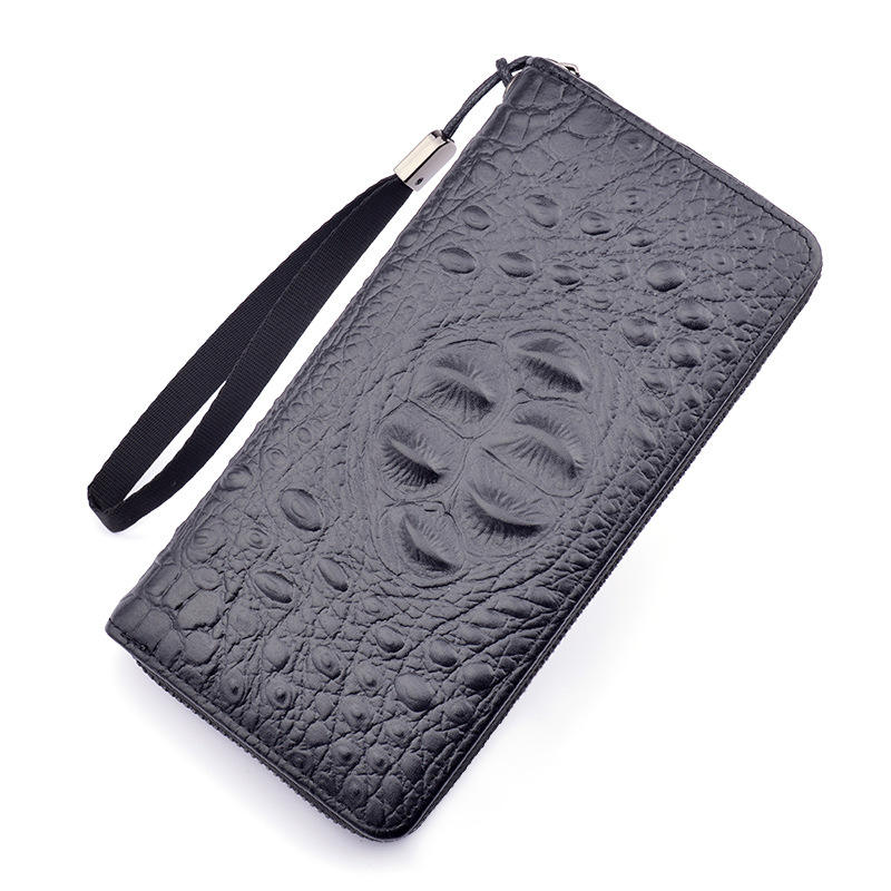 New alligator wallet men's long zipper wallet handbag business large capacity wallet mobile bag