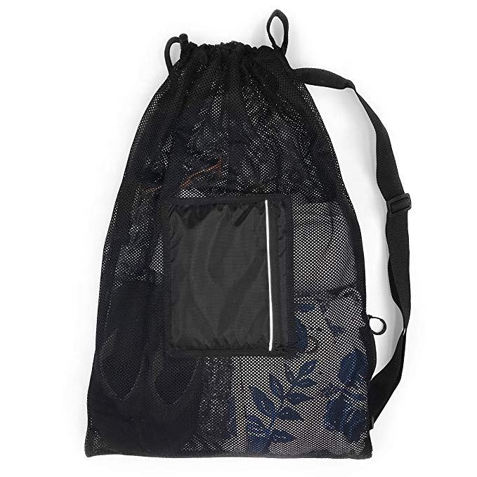 Large sport drawstring sling swim mesh bag with water resistant pocket