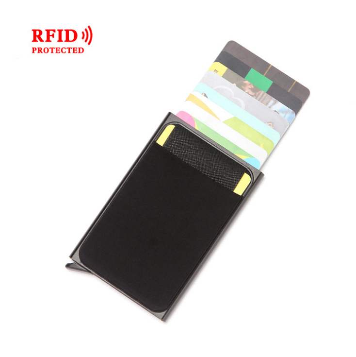 Wholesale New Fashion Automatic Pop Up Men's RFID Wallet PU Leather Spandex and Aluminium Card Wallet