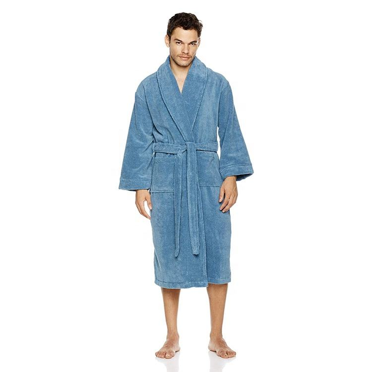 Amazon Hot Sale Luxury Nobel 100% Cotton Terry Lapel Style Bathrobe