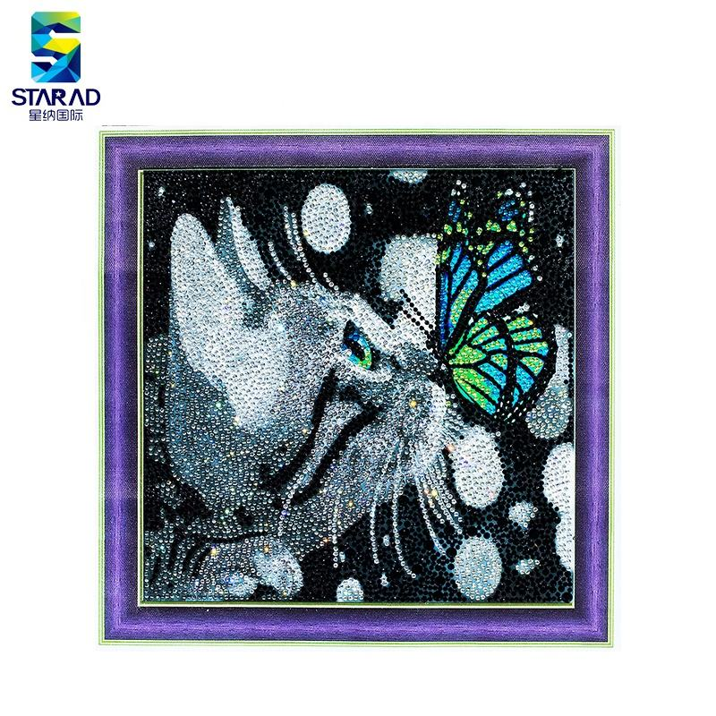Resin Needlework Cut Cat Rhinestone 5d Kit Painting By Diamonds
