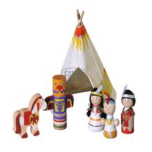 Native American Teepee and India Doll  Role Play Set Pretend Play Toys Wooden