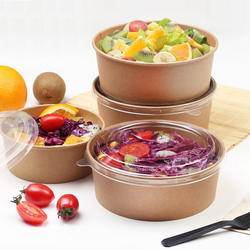Food grade oil resistance disposable paper bowl for salad soup