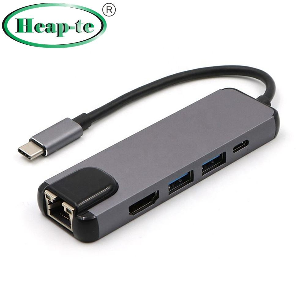 High speed Type-c to 4K HDMI 5 IN 1 Adapter Gigabit USB C charger /USB 3.0 * 2 Port Gray silver color