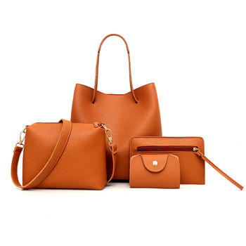 Factory Price Pu leather handbags 4 sets Custom 4pcs Set Bag Designer Women Handbag for Ladies