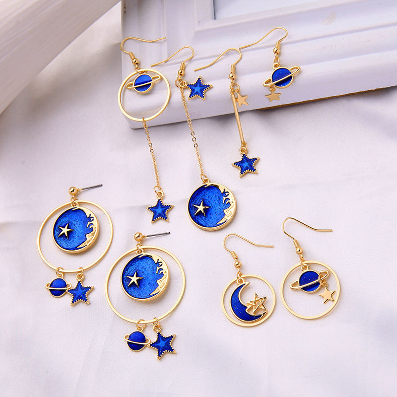 de980147 Ins Style Gols Plated Blue Enamel Handmade Crescent Moon Star Saturn Mismatch Hoop Earrings for Girls