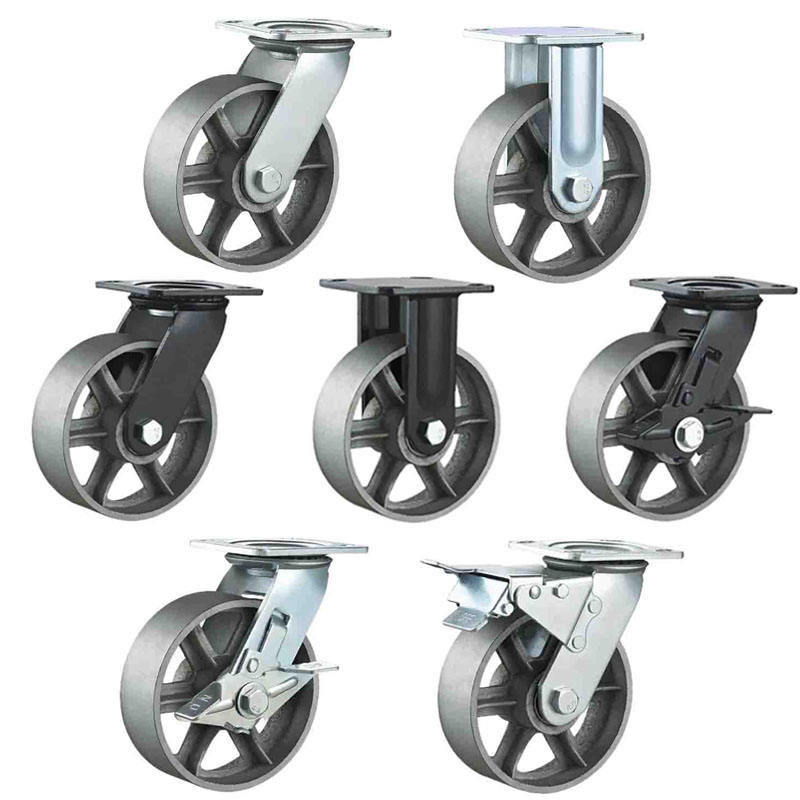 All iron casters wheels 4 5 6 8 inch oven castor cast iron caster wheel heavy duty cast iron caster