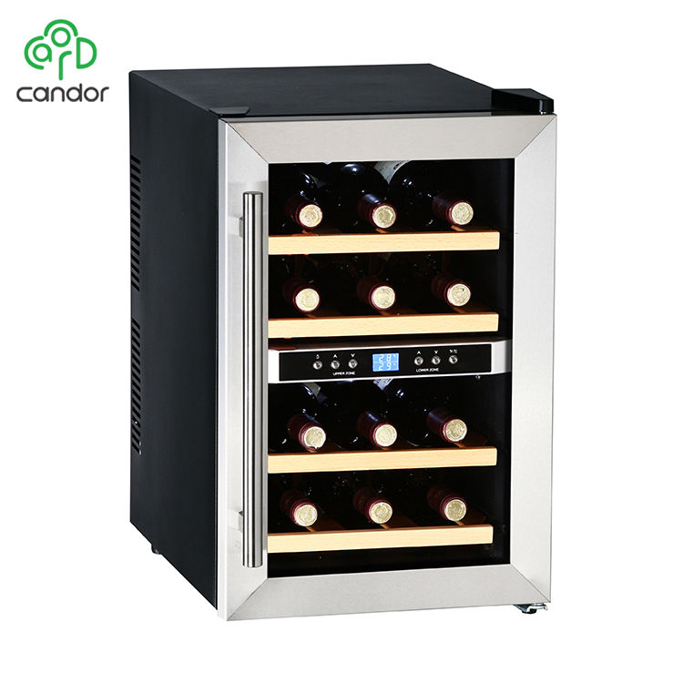 Candor Custom Thermoelectric 12 Bottles Dual Zone Wine Coolers with LCD Display CW-34ADT