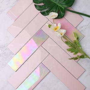 65*265mm Rainbow Iridescent Long Subway Pink Ceramic Bathroom Wall Tile For Backsplash Kitchen Restaurant Project