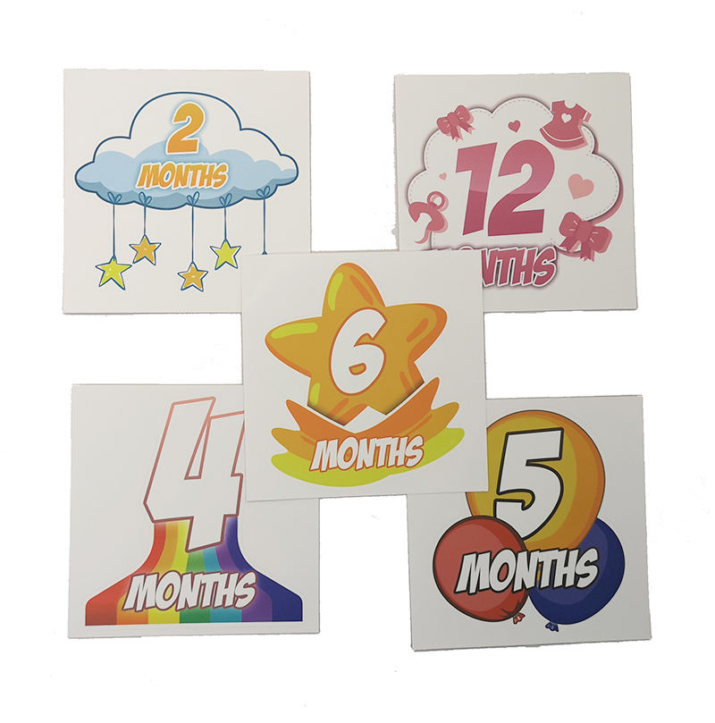 Manufacture Custom 12/18/24 Pcs Baby Monthly Milestone Tie Stickers Waterproof Vinyl Baby Monthly Stickers