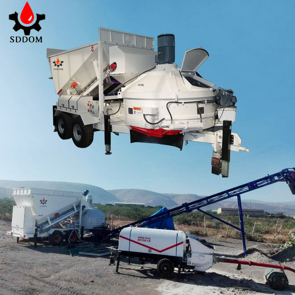 New Design concrete equipment SDDOM MB1200 10/20/30 cubic meter per hour really mobile concrete batching plant