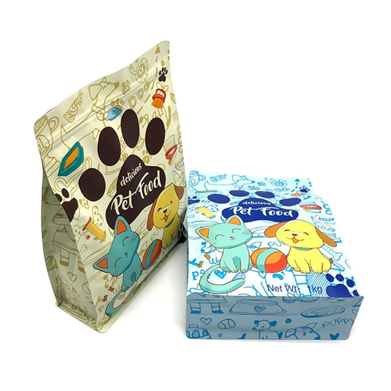 Custom Smell Proof Block Bottom Seed 5kg Rice Pet Cat Dog Food Packaging Zip Lock Bag
