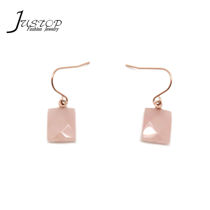 2020 New Arrival Pink Agate Natural Quartz Druzy Drop Earrings Square Agate Druzy Drop Earrings For Women