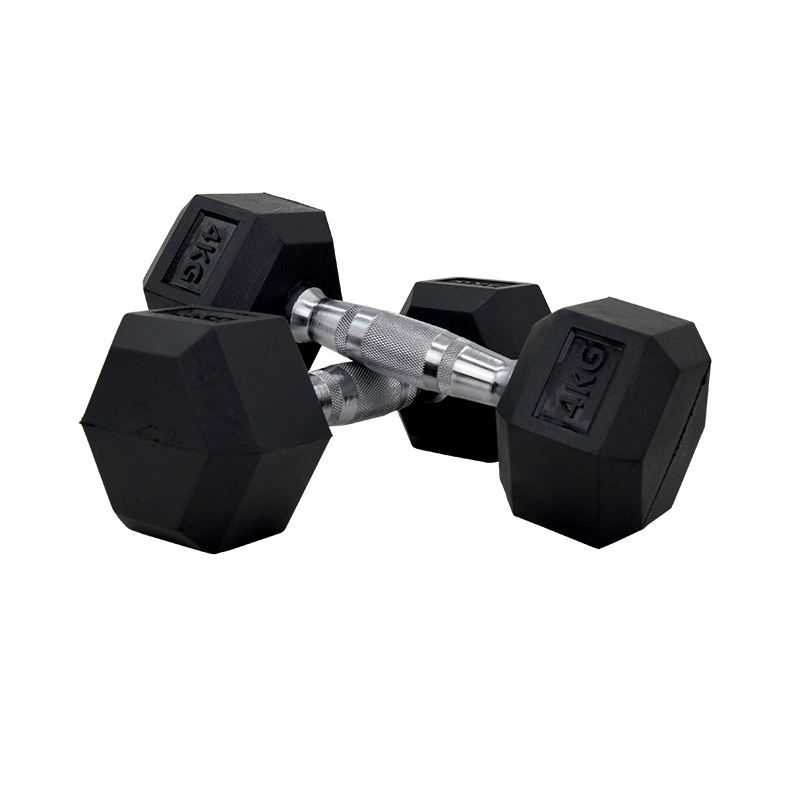 Wholesale competitive price black hex rubber dumbbell