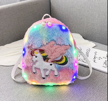 Cute Plush Mini 3D School Bag,Soft  Gifts Unicorn School Bag,12 inch Sweet Kids Girls School Bag with lamp