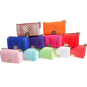 Wholesale rainbow jelly bags women handbags 2020 silicone/PVC shoulder handbag jelly candy purse