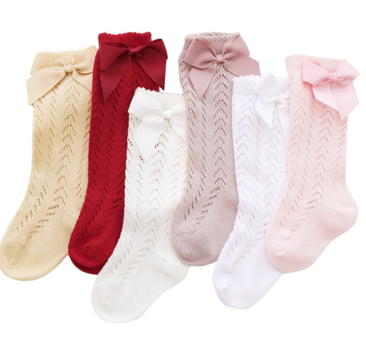 Autumn Spanish Style Baby Socks Children's Moving Ring Mesh Bow Plain Stockings Ins Hot Selling Models Mesh Bow Socks 0-3 Years