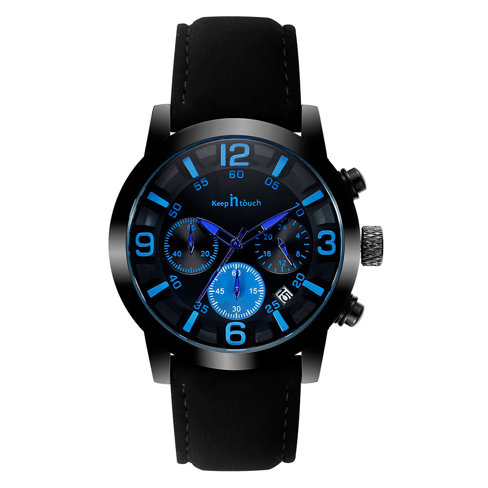 Watches Men Luxury Fashion Sports Man Leather WristWatch Multifunction Chronograph