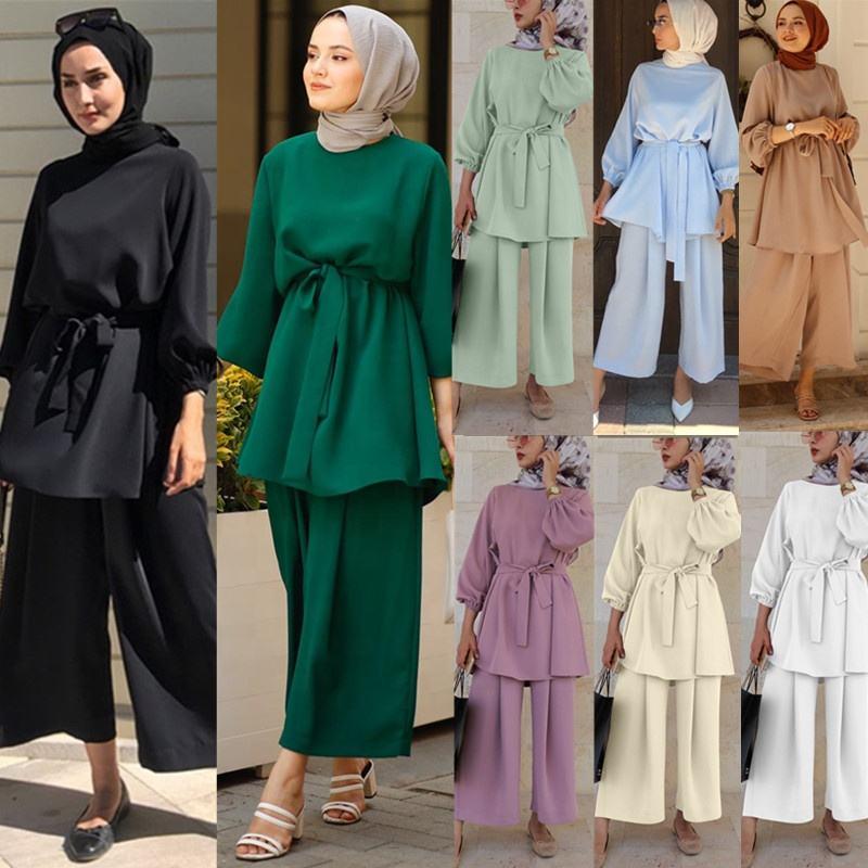 Wholesale EID two-piece muslim sets abaya Turkey hijab dress islamic clothing 2 piece set for women