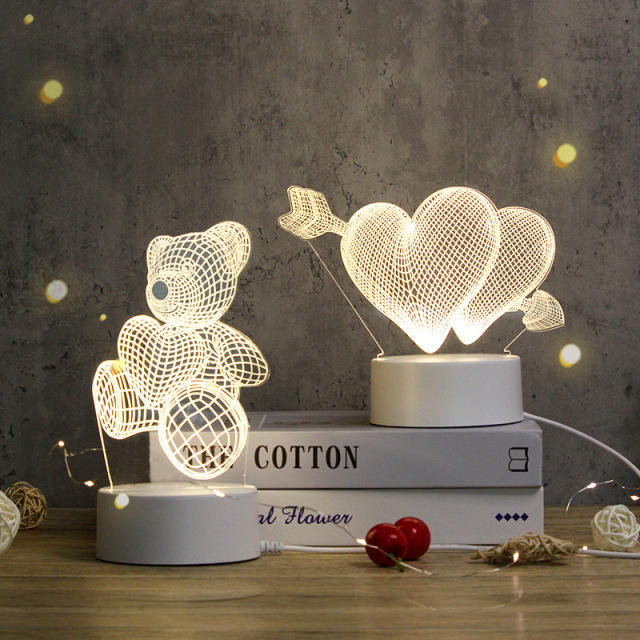 Creative Custom LED Nightlights Novelty 3D Illusion Night Light Acrylic Table Lamp For Room Decorative Light