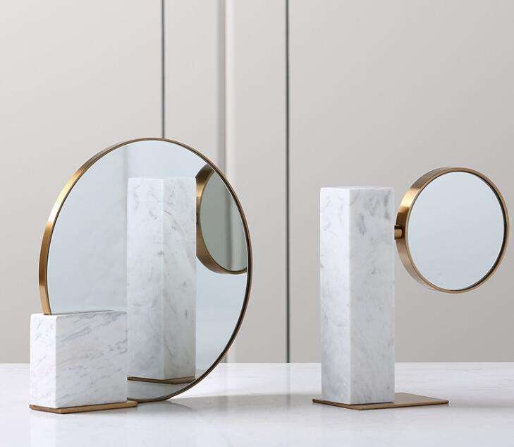 Tabletop marble mirror stand white marble Stone crafts tabletop mirror decorative gold trim inlay luxury gift cosmetic tools
