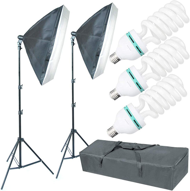 3 X 135W 5500K Light Bulbs Softbox Continuous Lighting Kit Photography Studio Photo Equipment for Filming Product