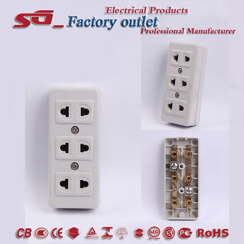 Fabrikant Factory Outlet 3 Way <span class=keywords><strong>Socket</strong></span> Strip Bakeliet Verlengsnoer Thailand Birma Cambodja