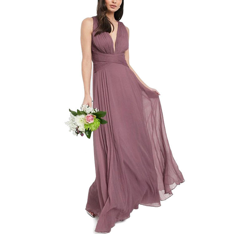 Pleats deep v neck burgundy maids wedding dresses bridesmaid dresses