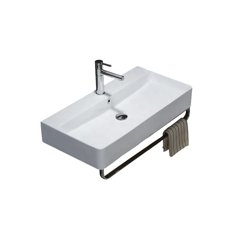 Modern home white ceramic bathroom sink hand wall hung wash basin price