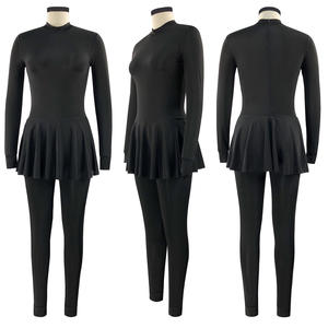 All Black Full Covered Modest Islamic Swimwear Sportswear Long Pants Long Sleeves Skirts Women Muslim Burkini Swimsuit