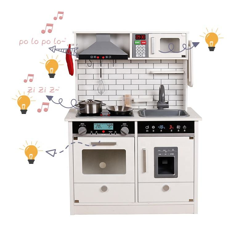 Ready to ship large white wooden kitchen play set with light and sound W10C493B