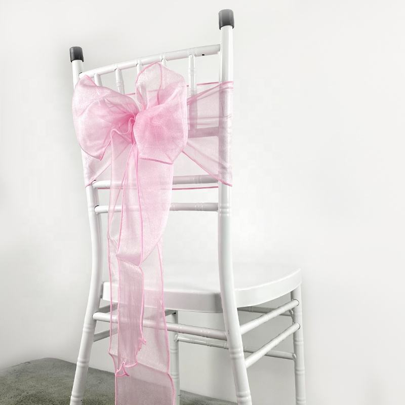8x108 INCH Pink Organza Chair Hood Sash Pink Wedding Chair Sashes