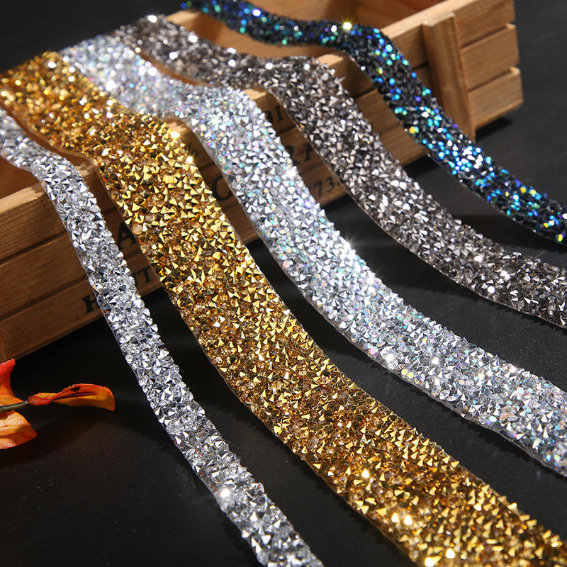 DIY Wedding Bridal Dress Applique Bling Chain Banding Belt Rhinestone Beaded Trim Sparkling Crystal Rhinestone Hotfix Ribbon