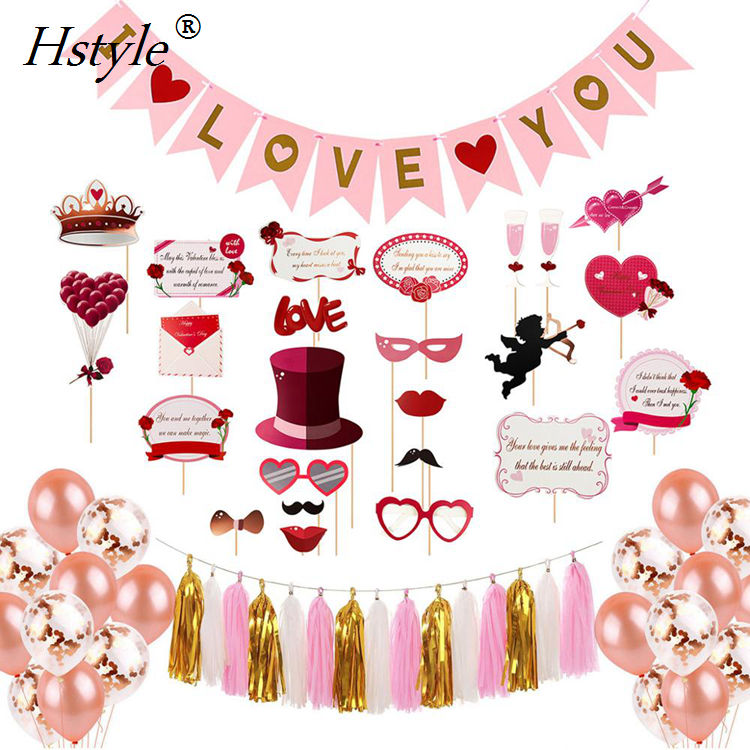 2020 Hstyle New Products Valentine's Day Event Supplies Party Decoration Wedding - Tassel Garland I LOVE YOU Banners SET0280