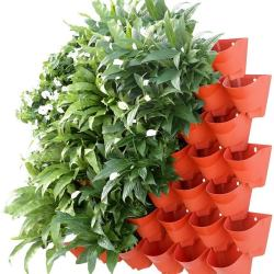 Outdoor plastic color semicircular tower living wall self watering vertical flower pots garden planters