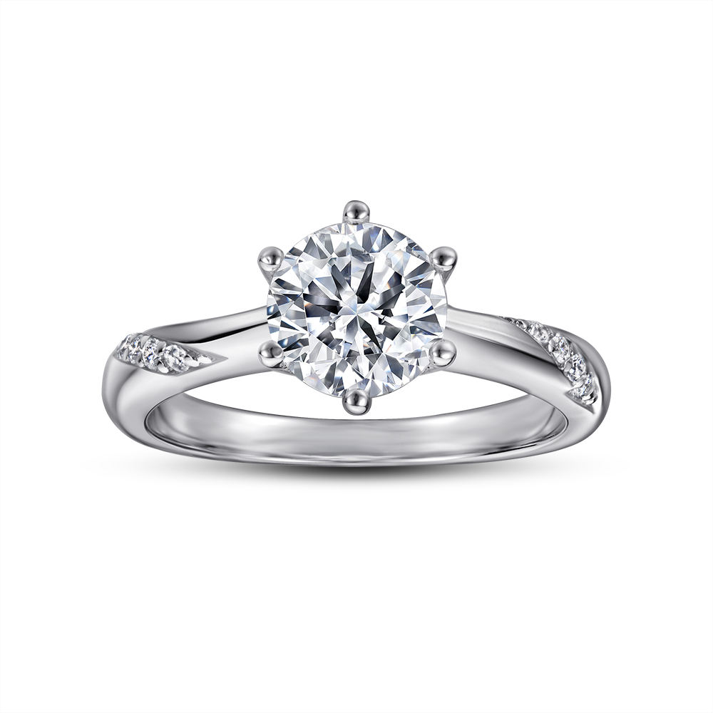 Wholesale 925 Sterling Silver ring 416 Engagement CZ Diamond Rhodium Plating for women