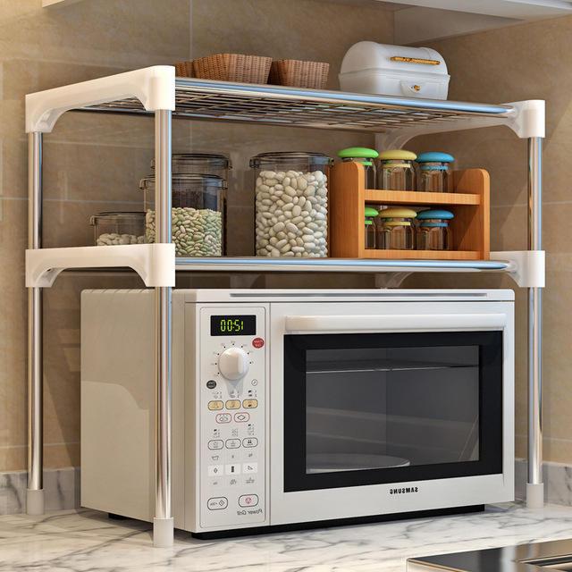 soporte de horno de microondas Estanter/ía para microondas de metal f/ácil de instalar estanter/ía de cocina resistente 57 x 38 x 38 cm multifunci/ón estable almacenamiento para cocina