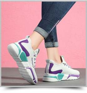 Factory wholesale cheap breathable custom Casual shoes walking sports ladies wedge sneakers