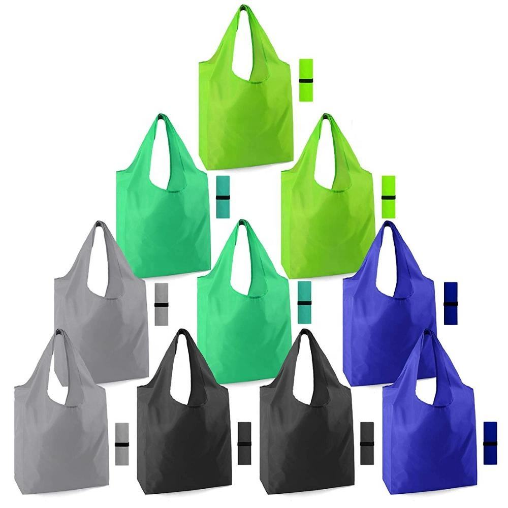 Eco Friendly Ripstop Heavy Duty Reusable Washable Durable Lightweight Polyester Grocery Tote Bags with Pouch