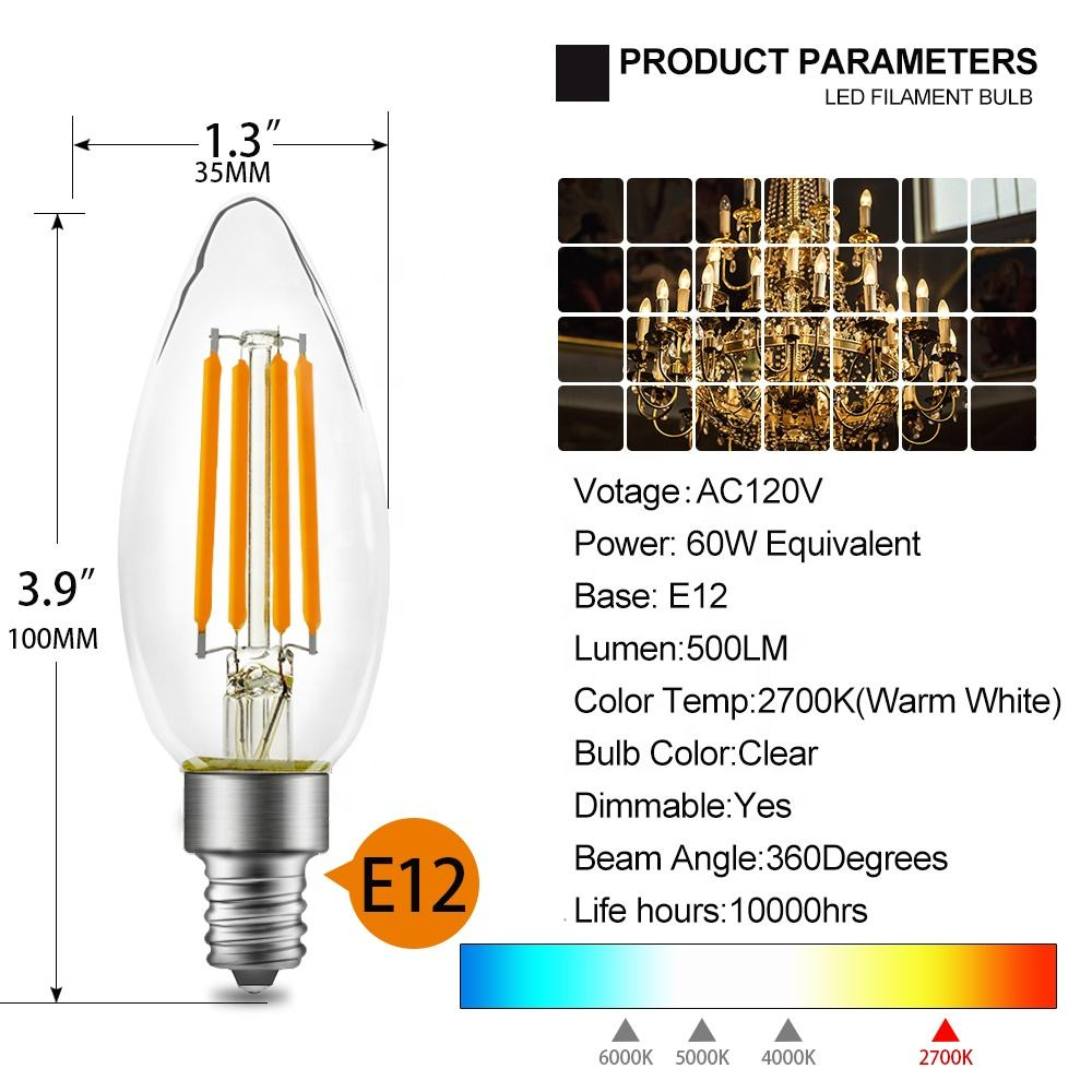 Beacon Vintage Filament Bulb E14 Dimmer Candle 40 Watt Warm Light 160 Lumen