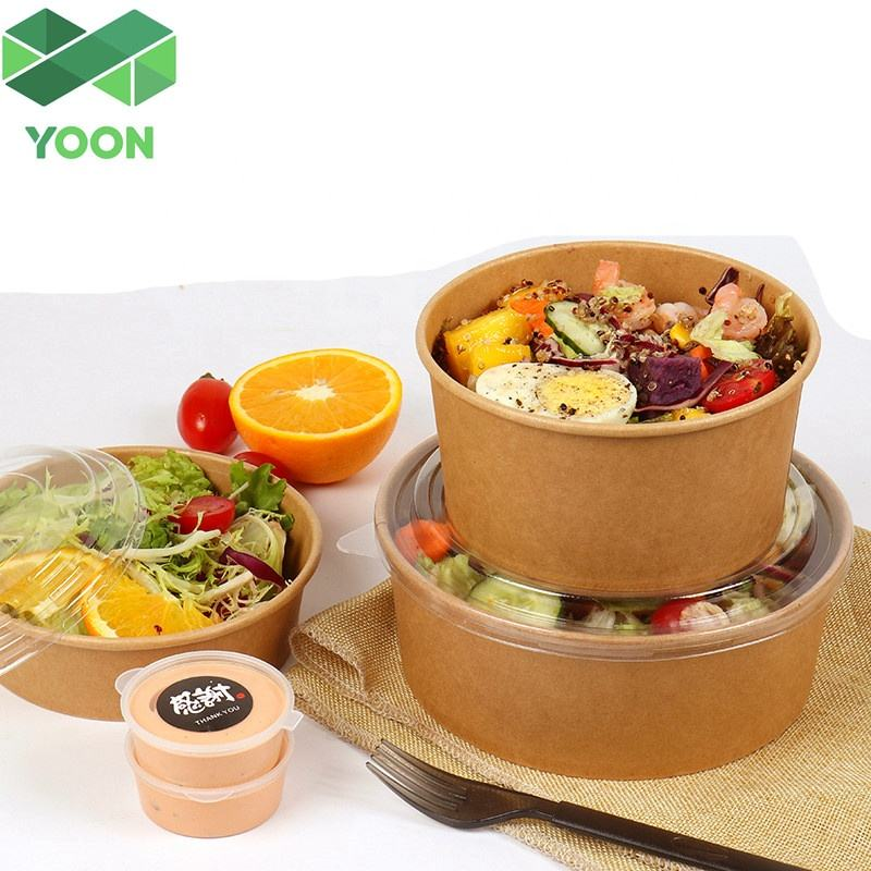 Custom Logo Printing Disposable Kraft Paper Bowls Hot Food Salad Bowl With Plastic Lids