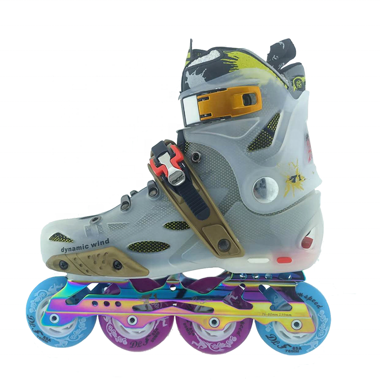 Urban Freestyle Slalom Hard boot Flashing Roller Inline Skate For Adult