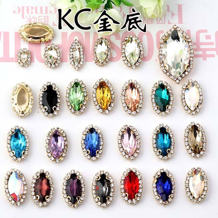 Wholesale 3D Settings Crystal Glass Shinning Horse Eye Diamond Fancy Stones Anti-hook Sewing Rhinestones
