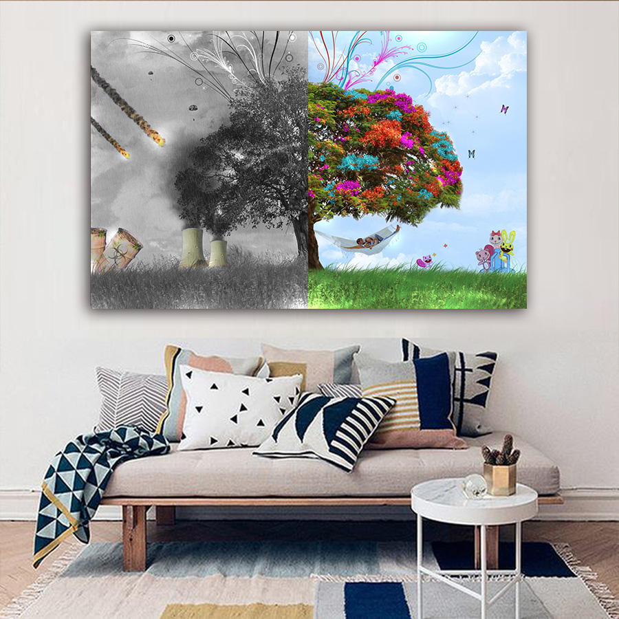 Tree of Life Poster Graffiti Banksy Street Art Prints Modern Abstract Canvas Paintings Wall Pictures for Living Room Home Decor